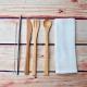 Organic Cotton Cutlery Wrap + Bamboo Cutlery