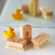Super cute kids natural wooden nail brush A 100% plastic-free nail brush for kids. with plant-based bristles so will not shed micro-plastics into the environment. The handle is FSC® certified beech wood.